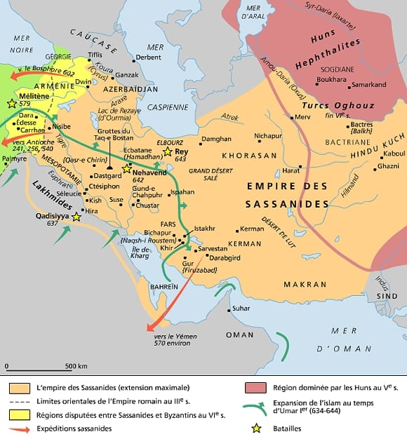 Carte de l'empire des sassanides