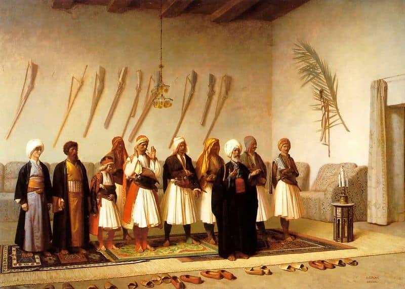 """Jean-Léon Gérôme - """"Prière à la chambre d'un chef Arnaut"""" (1857)"""
